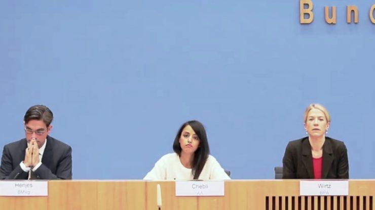 Von links nach rechts: Herrn Henjes (BMVg), Frau Chebli (AA) und Frau Wirtz (BPA)