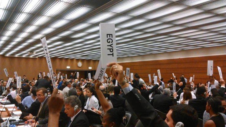 Abstimmung bei der OEWG in Genf am 19. August 2016. Foto: Xanthe Hall