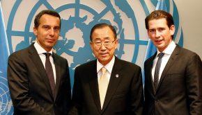Bundeskanzler Christian Kern, UN-Generalsekretär Ban Ki-moon, Außenminister Sebastian Kurz