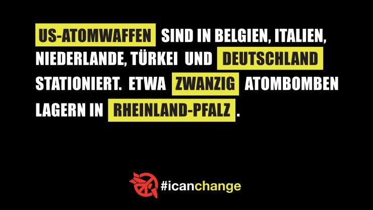 ICAN-Postkarte:US-Atomwaffen sind in Belgien, Italien, Niederlande, Türkei und Deutschland stationiert. Etwa zwanzig Atombomben lagern in Rheinland-Pfalz.