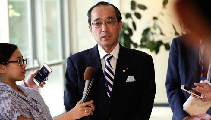 Bürgermeister von Hiroshima Kazumi Matsui, 15. Juni 2017 bei den Verhandlungen des Atomwaffenverbots, Vereinte Nationen, New York. Foto: Eric Espino / ICAN